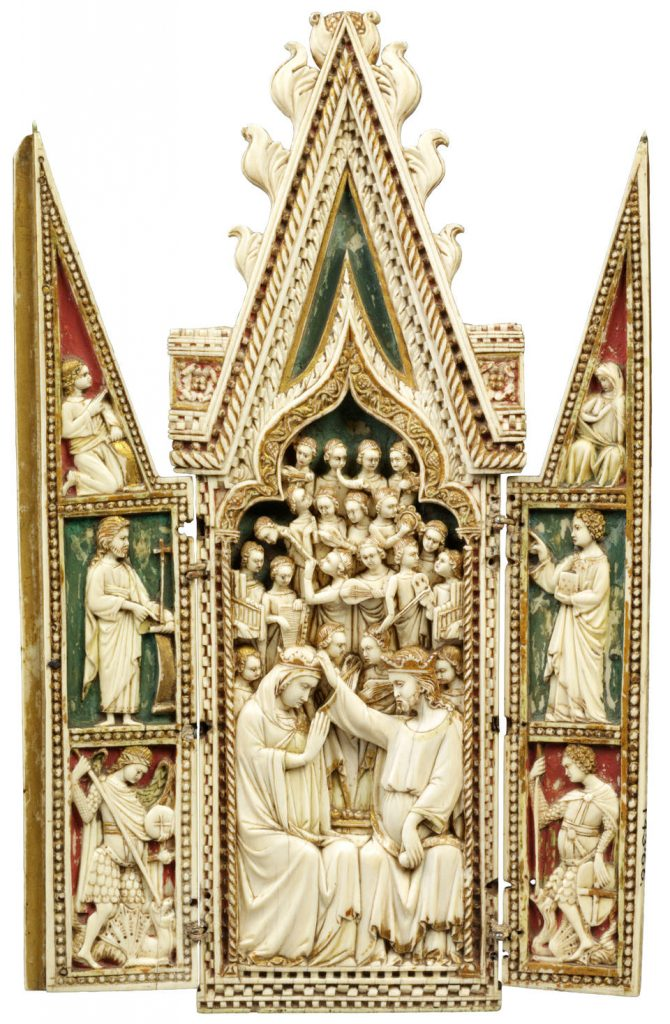 Medieval portable triptych shrine with the coronation of the Virgin, 1360-70, Venice, Italy, elephant ivory, Victoria and Albert Museum, London, England, UK.