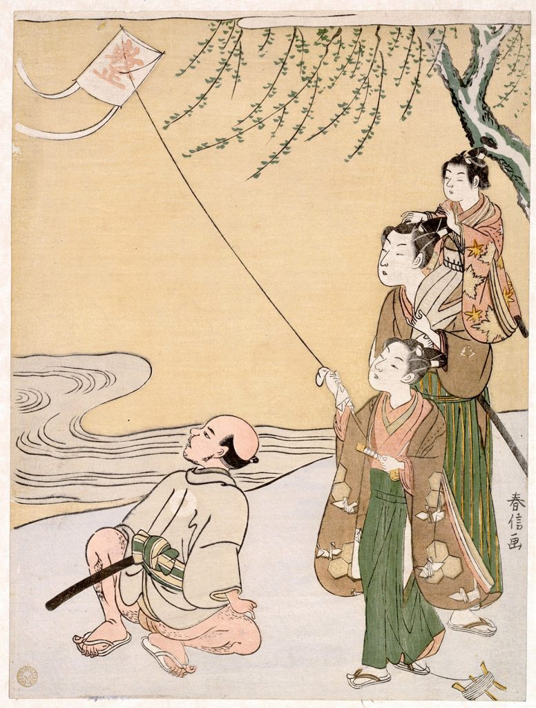 Flying Objects in Art: Woodblock Print of Kite Flying.Suzuki Harunobu, Woodblock Print of Kite Flying