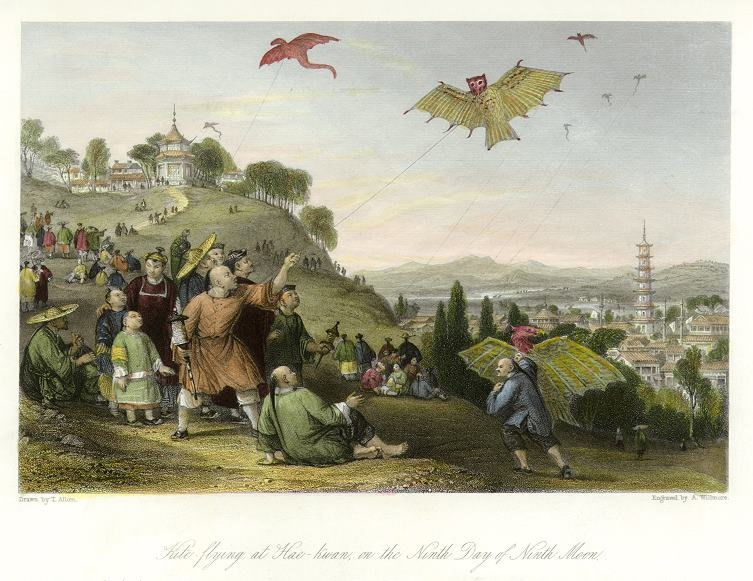 Flying Objects in Art: Kite-Flying at Hai-kwan on the Ninth Day of Ninth Moon