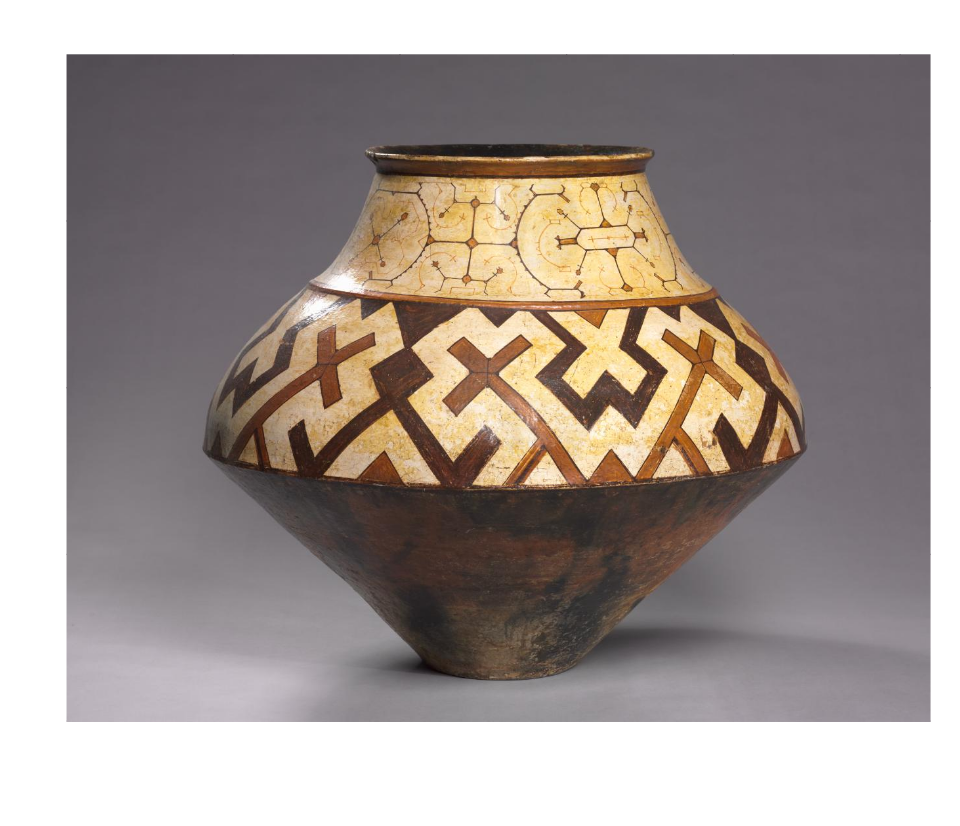Shipibo jug displaying geometric patterns created by women artists. Shipibo Jug, ca 1940, Cleveland Museum of Art. Cleveland, OH, USA.