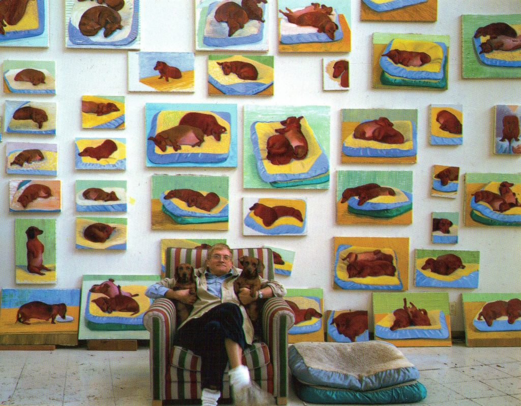 David Hockney with Stanley and Boodgie