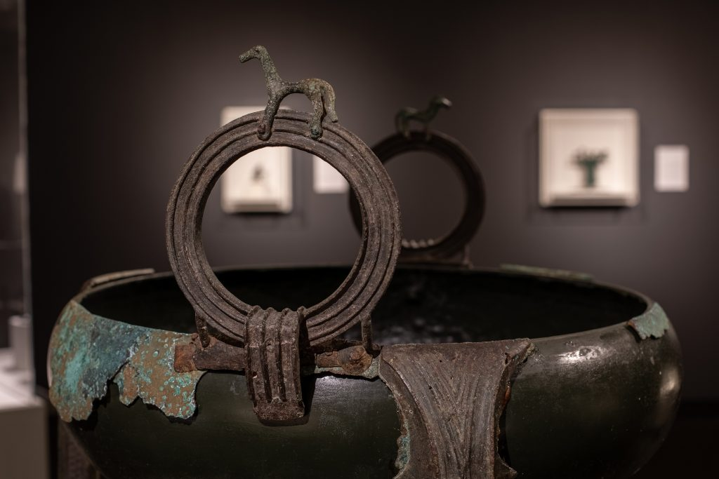 Greek ring-handled-tripod cauldron, early 8th century BCE, From Chaos to Order, The Sol Rabin Collection, St.Petersburg Museum of Fine Art, St.Petersburg, FL, USA.
