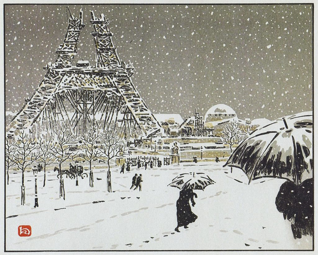 Henri Rivière, The Eiffel Tower under construction, seen from the Trocadéro, Thirty-Six Views of the Eiffel Tower, lithograph with people with umbrellas in the foreground in snowy weather, and the Eiffel Tower in the background
