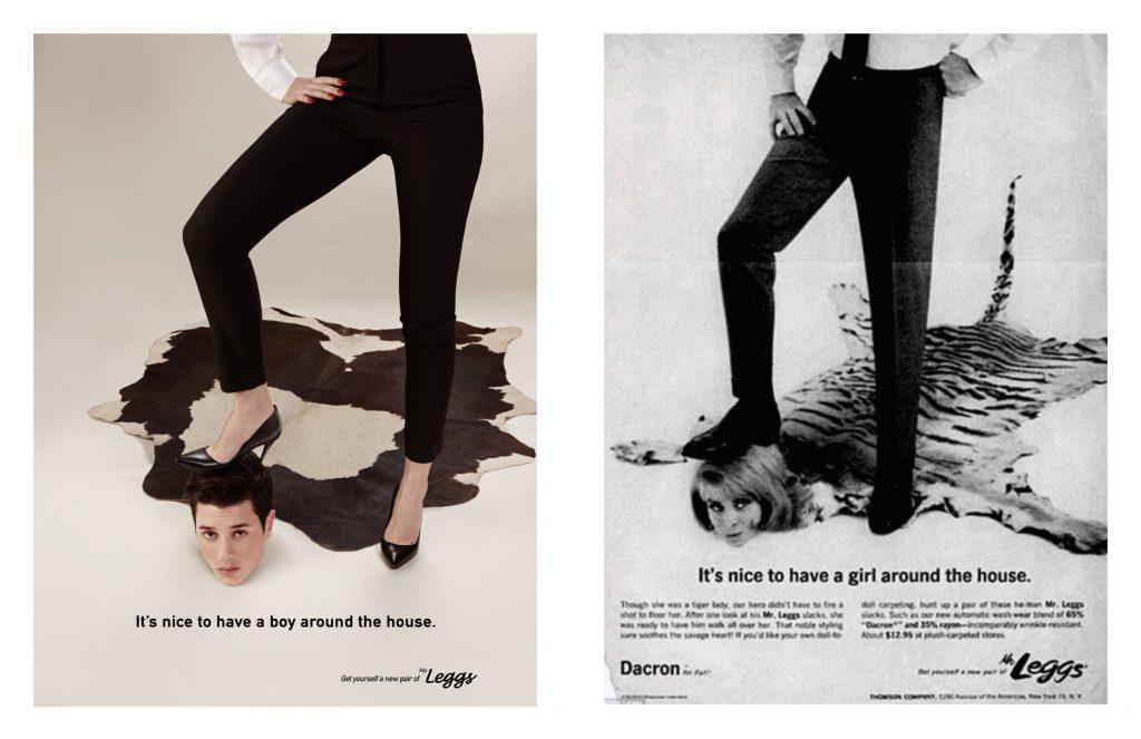 Left: Eli Rezkallah, In a Parallel Universe series, 2017. Right: Advertisement for Mr.Leggs. Courtesy of the artist.