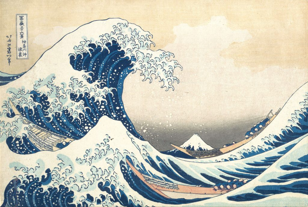 Katsushika Hokusai, Under the Wave off Kanagawa, with one great wave and one smaller wave in the foreground, fishermen in the boats, and Mount Fuji in the distance