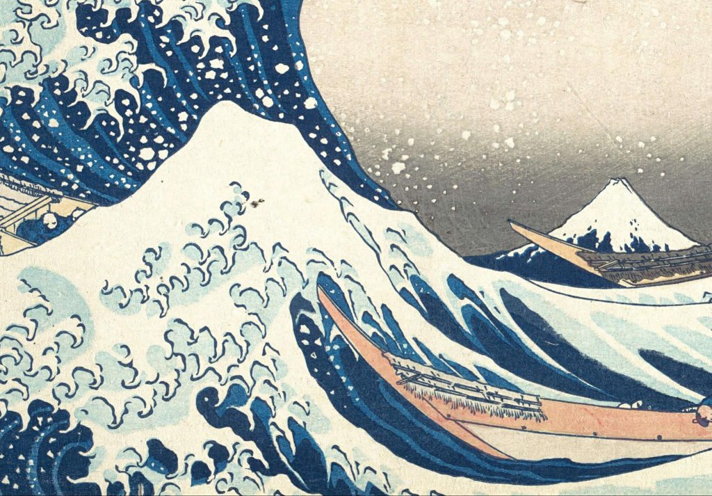 Katsushika Hokusai, Under the Wave off Kanagawa, color woodblock print, close-up with one great wave and one smaller wave in the foreground, and Mount Fuji in the background