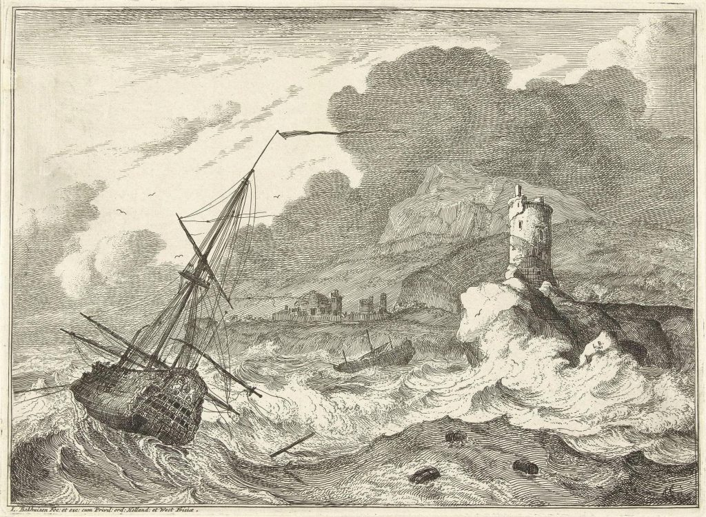 Bakhuizen, etching, monochrome, with the ship in the rough sea and waves in the foreground, fort and buildings in the background