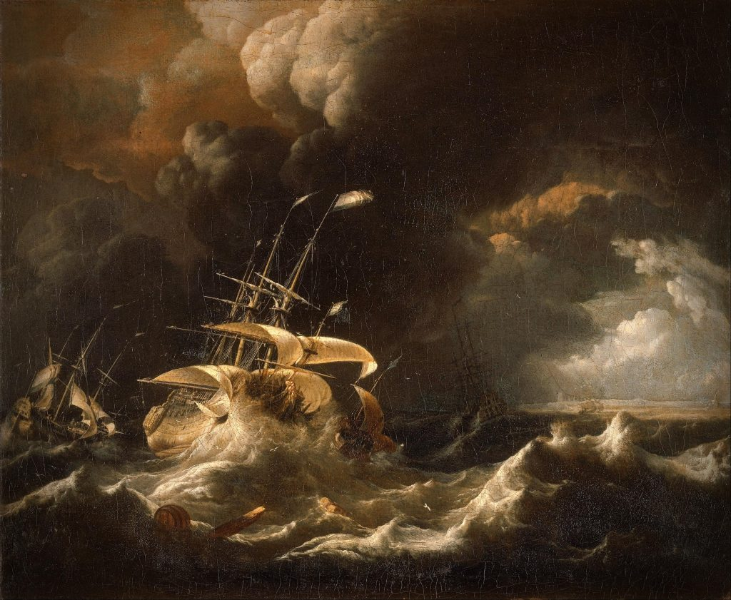 Bakhuizen, painting, with two ship in the dark stormy sea in the foreground and dark clouds in the background