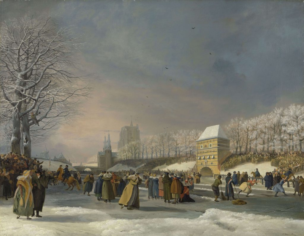 Nicolaas Baur, Women's Skating Competition on the Stadsgracht in Leeuwarden, 21 January 1809, Ice Skating Art