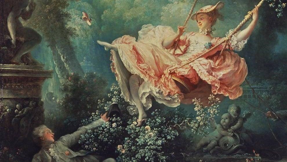 Jean-Honoré Fragonard, The Swing (Les Hasards Heureux de l'Escarpolette), 1767-1768, The Wallace Collection, London, England, UK. Detail.
