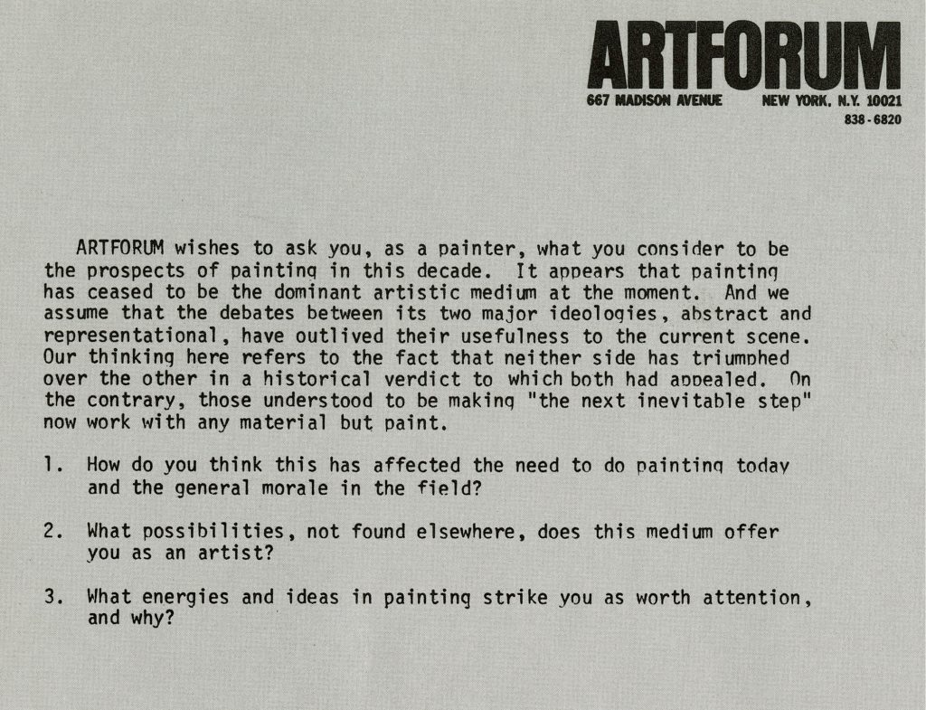 Artforum Magazine, letter to painters regarding their feeling about the state of painting, 1975.