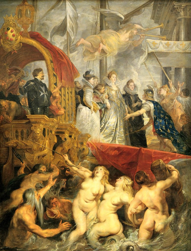 Mythological and religious paintings: Peter Paul Rubens, The Disembarkation of Maria de Medici at Marseilles, 1622-25, Louvre Museum, Paris, France