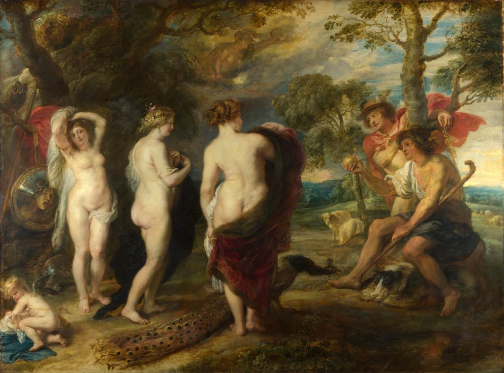 Mythological and religious paintings: Peter Paul Rubens, The Judgement of Paris, 1636, National Gallery, London, UK.