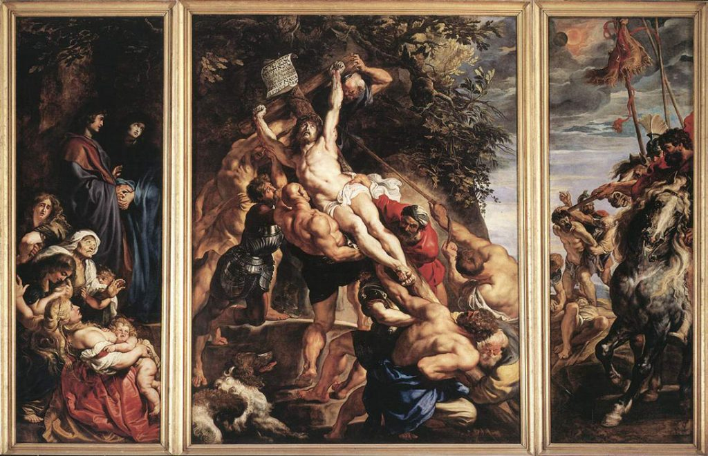 Mythological and religious paintings: Peter Paul Rubens, The Elevation of the Cross, 1610-11, Cathedral of our Lady, Antwerp, Belgium