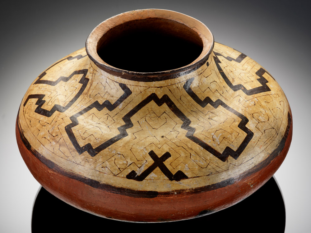 Shipibo hand coiled jar displaying geometric patterns created by women artists.Conibo Jar, c. 1910, National Museum of the American Indian, Washington, DC, USA.