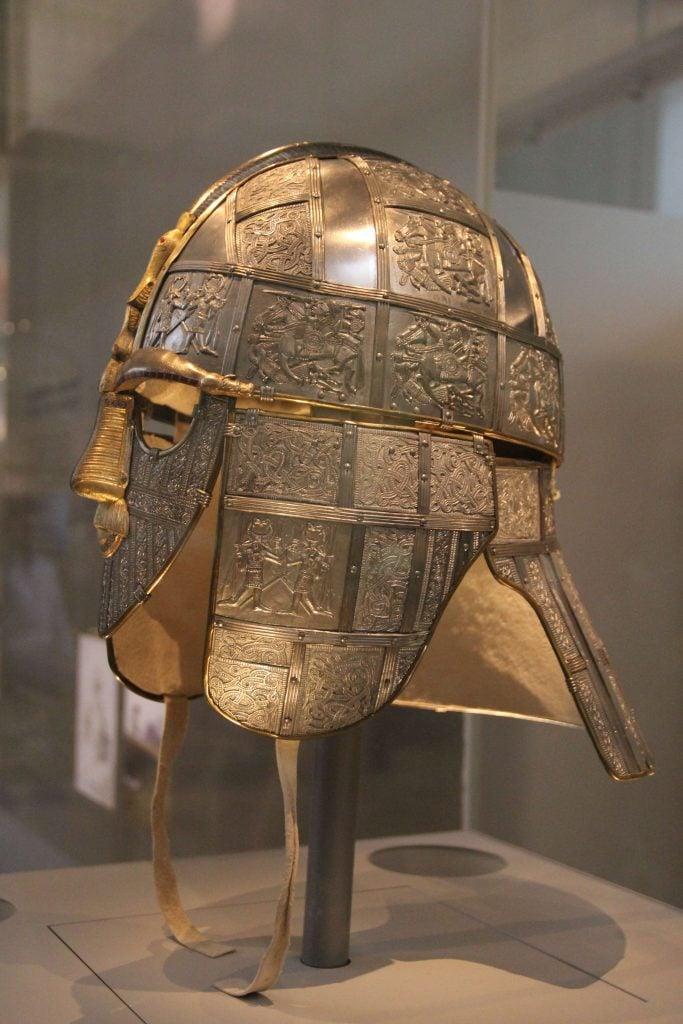 A modern replica of the Sutton Hoo helmet.