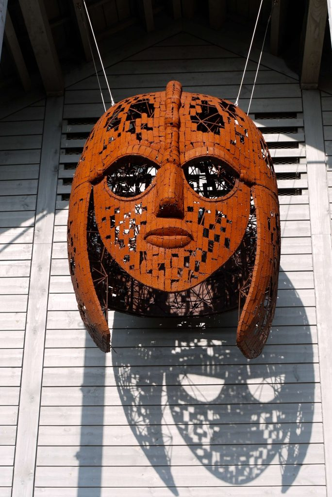 A sculpture inspired by the Sutton Hoo helmet, on display at the Sutton Hoo site in Suffolk, East Anglia, England, UK