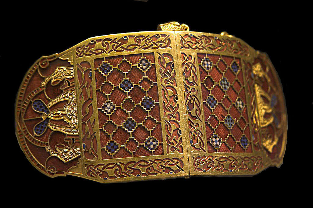 Shoulder clasp (one of a pair) from the Sutton Hoo ship burial, Anglo-Saxon, early 7th century, gold, garnets, and millefiori glass