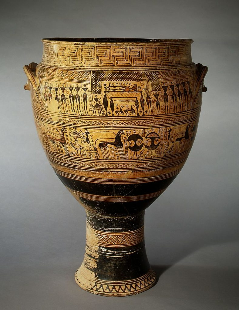 This terracotta krater was used as a burial marker in the Greek dark ages. Geometric era figurative designs of lamenting.