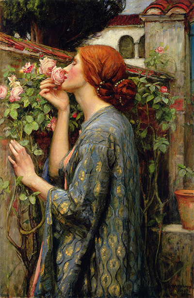 language of flowers, John William Waterhouse, The Soul of the Rose, 1908, private collection. Red haired woman gently sniffing a pink rose, hidden messages in flora