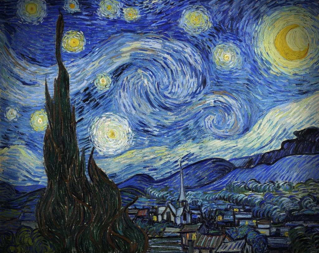 Vincent van Gogh, The Starry Night, painting, with cypress in the foreground, village in the background, with spectacular night sky, swirling celestial bodies, and the moon