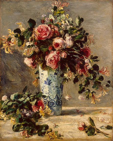 10 Most Artistic Flower Arrangements For Spring. Pierre Auguste Renoir, Roses and Jasmine in a Delft Vase, c.1880-1, oil on canvas, The State Hermitage Museum, St. Petersburg, Russia.