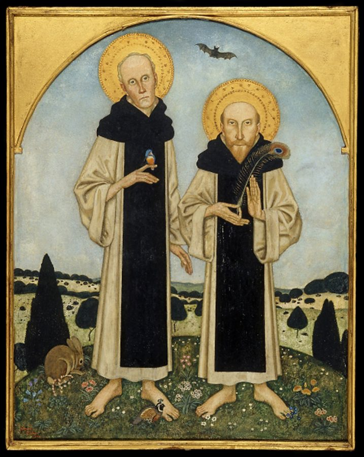 Famous artist couples: Edmund Dulac, Charles Ricketts and Charles Shannon as Medieval Saints, 1920,
