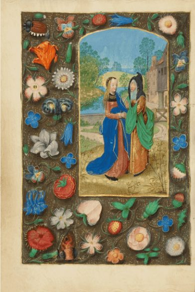 insert from the Dresden Book of Prayer, The Virgin Mary, surrounded by flowers, hidden messages in flora language of flowers
