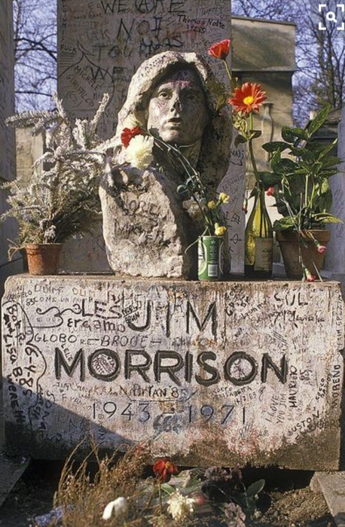 Statues of famous musicians: Mladen Mikulin, Jim Morrison, 1971, Pere Lachaise cemetery, Paris, France.