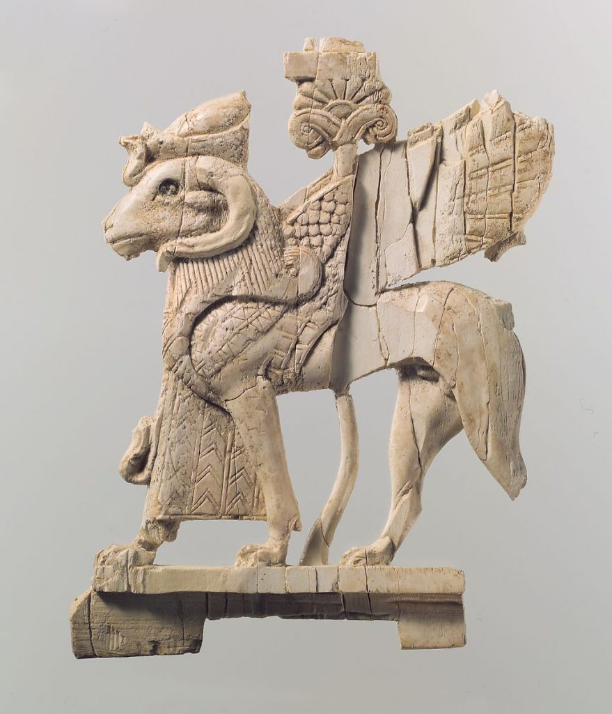 Openwork furniture plaque with ram-headed sphinx, ivory carving,9th-8th century BCE, Neo-Assyrian, Metropolitan Museum of Art, New York, NY, USA.