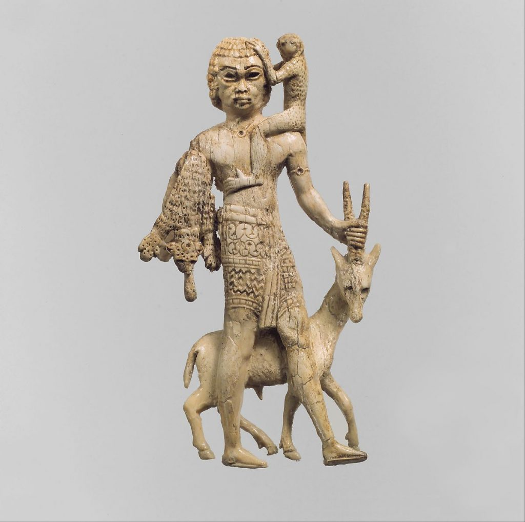 Sculpture of a man with an oryx, a monkey, and leopard skin, 8th century BCE, Neo-Assyrian Period, Metropolitan Museum of Art, New York, NY, USA.