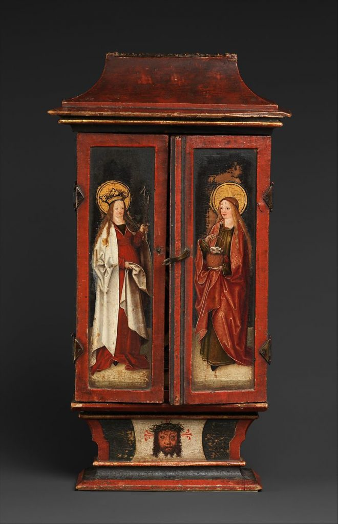 Medieval portable shrines: Private devotional shrine, 1490, German, wood, paint, gold, translucent glazes, and metal fixtures, Metropolitan Museum of Art, New York, NY, USA.