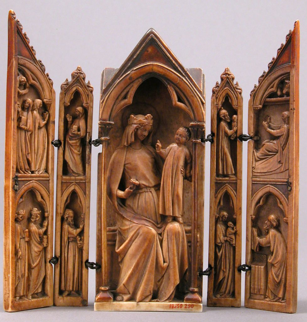 Medieval portable tabernacle shrine, 1325, French, ivory with metal mounts, Metropolitan Museum of Art, New York, NY, USA.