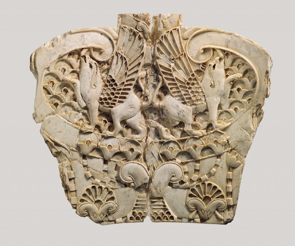 Cloisonne furniture plaque with two griffins in a floral landscape, 8th century BCE, Neo-Assyrian Period, Metropolitan Museum of Art, New York, NY, USA.