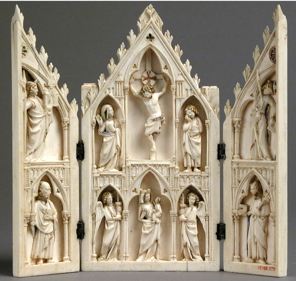 Medieval Portable Shrine, Triptych, 1250-75, French, ivory, paint and gilding with metal mounts, Metropolitan Museum of Art, New York, NY, USA.