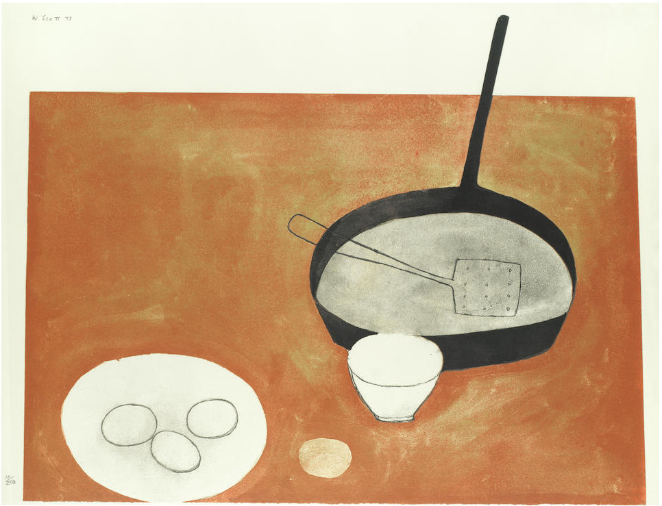 William Scott, Still life with frying pan and eggs, 1973, Porthminster Gallery, St. Ives, England, UK. ArtUK.
