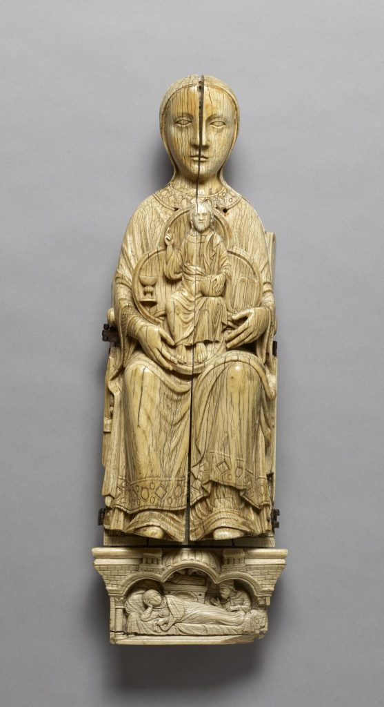 Opening Madonna Triptych (closed), 1180-1220, French, ivory and bone, The Walters Art Museum, Baltimore, MD, USA.