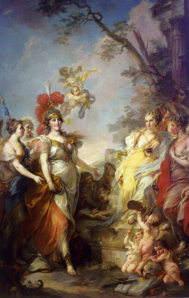 Rococo Women Beauty Guide: Stefano Torelli, Catherine the Great as Minerva, 1770, State Russian Museum, St. Petersburg, Russia.
