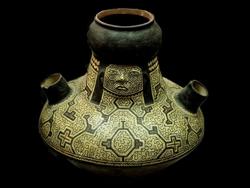 Shipibo vessel displaying geometric patterns created by women artists.