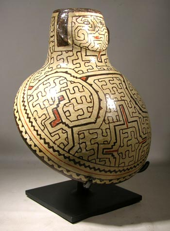 Shipibo anthropormophic vessel displaying geometric patterns created by women artists.