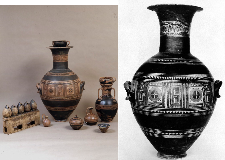 Amphora from the tomb of the rich lady featuring geometric designs from Ancient Greece. Greek dark ages art.