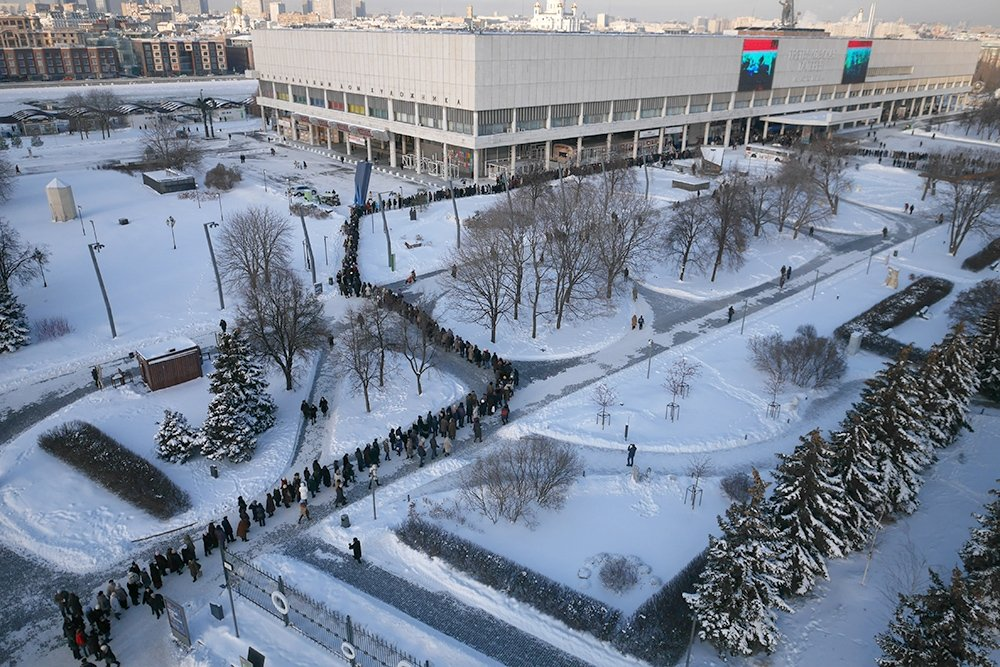 The line to the Valentin Serov's exhibition at Tretyakov Gallery in 2016, Moscow, Russia