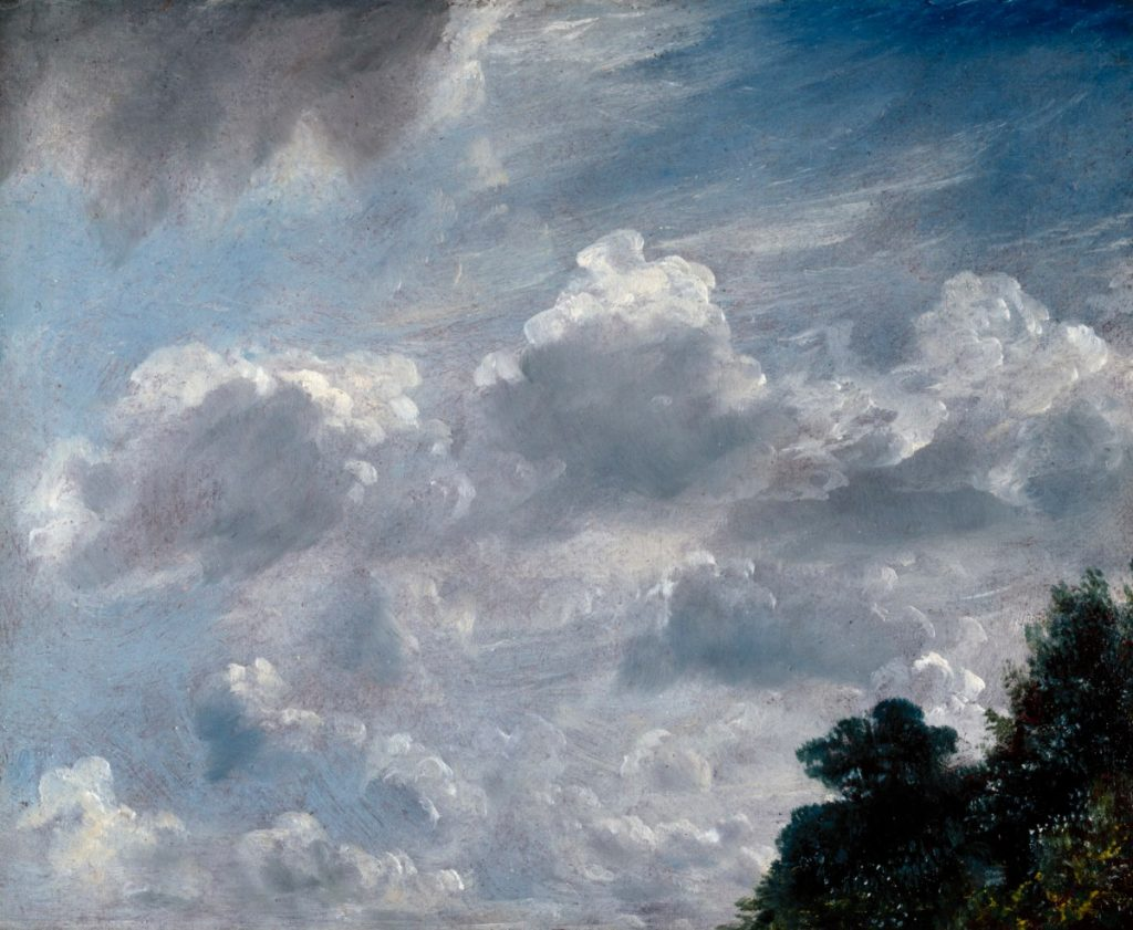Landscape paintings Constable McTaggart: John Constable, Cloud Study, Hampstead, Tree at Right, 1821, The Royal Academy of Arts, London, England, UK.