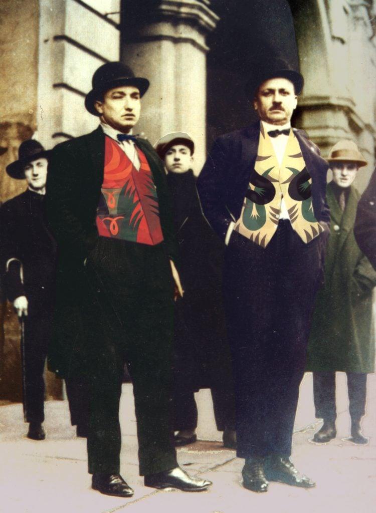 Futurist fashion: Colorized black and white photograph of Fortunato Depero and Filippo Tommaso Marinetti in front of Nuovo Teatro Futurista wearing the Futuristic vests, 1924, Torino, Italy.