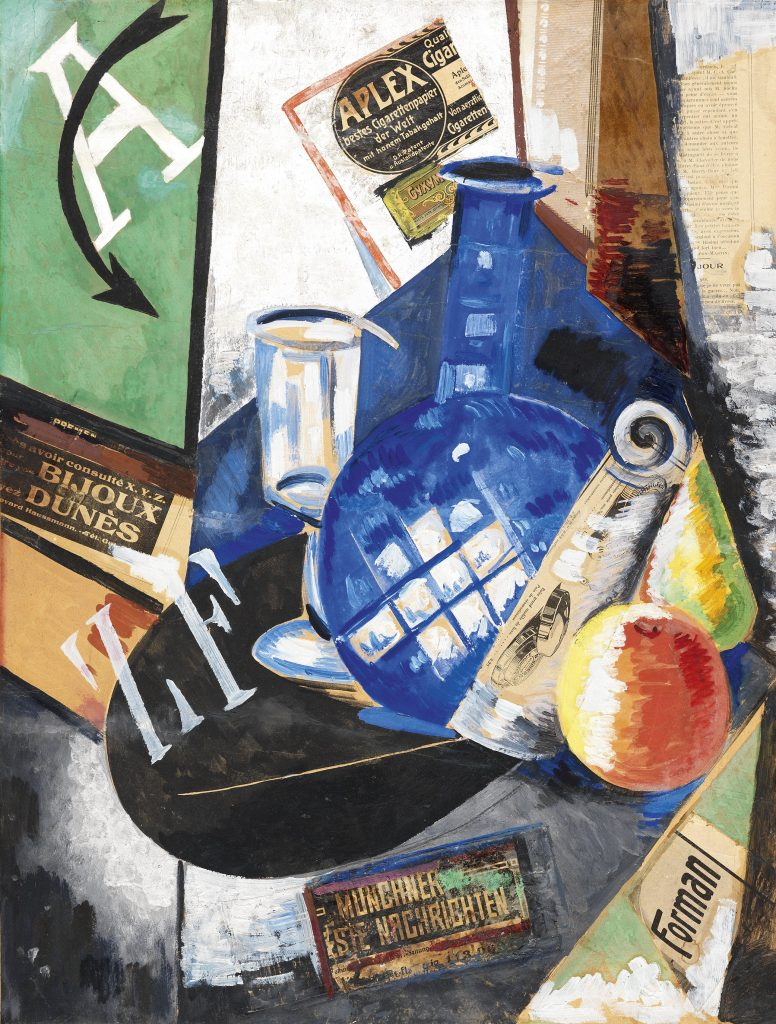 Alexandra Exter, Still life, 1913, collage and oil on canvas, Thyssen - Bornemisza Museo National, Madrid, Spain.