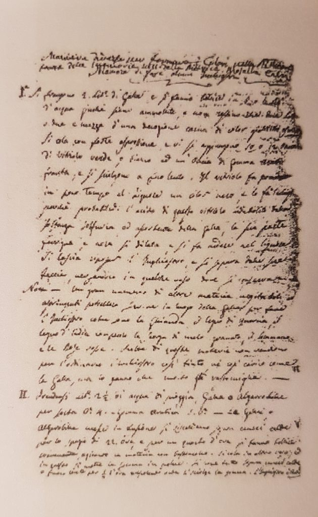 Handwritten extract of Rosalba Carriera's treatise about pastel