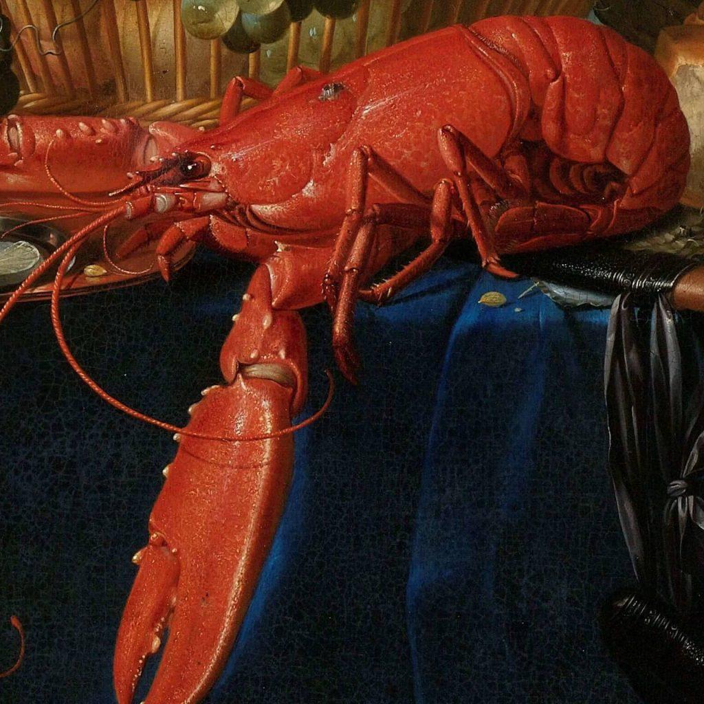 Pieter de Ring, Still Life with a Golden Goblet, 1640–60, Rijksmuseum, Amsterdam, Netherlands. Enlarged Detail of Lobster.