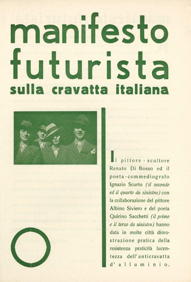Renato Di Bosso, The Futurist Manifesto of the Italian Tie, 1933.