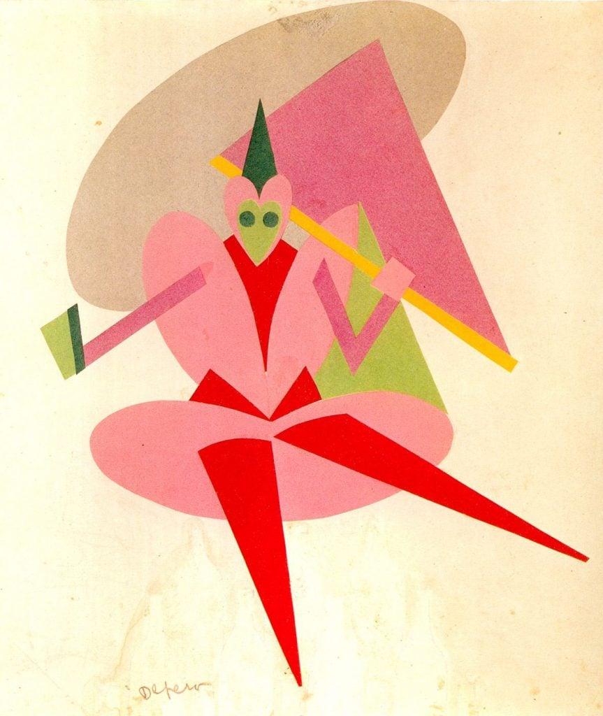 Futurist fashion: Fortunato Depero, A sketch for Le Chant du Rossignol, 1916. Source: Pinterest.