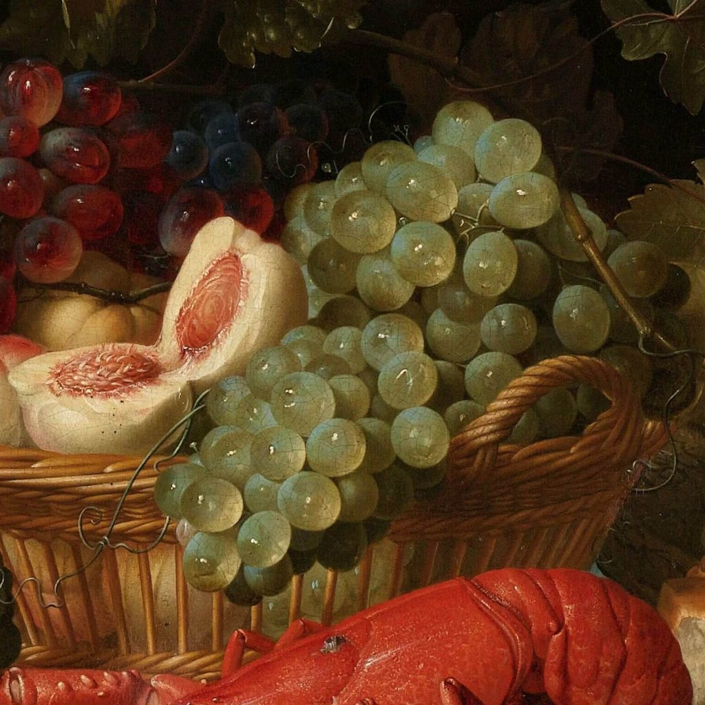 Pieter de Ring, Still Life with a Golden Goblet, 1640–60, Rijksmuseum, Amsterdam, Netherlands. Enlarged Detail of Peaches and Grapes.